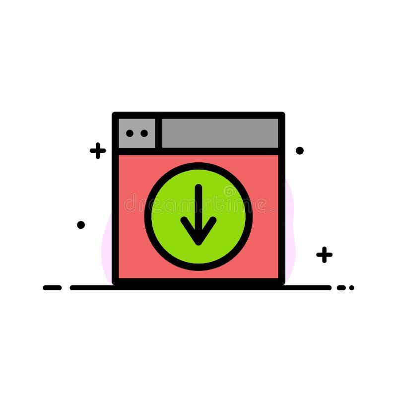Het Web, Ontwerp, download, onderaan, toepassings Bedrijfs Vlakke Lijn vulde Malplaatje van de Pictogram het Vectorbanner royalty-vrije illustratie