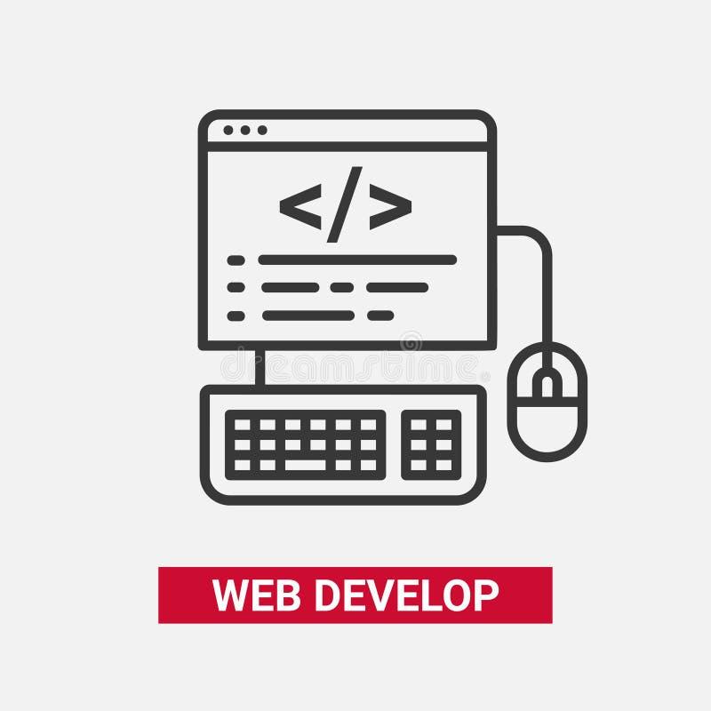 Het Web ontwikkelt zich - het moderne essentiële vectorpictogram van het lijnontwerp vector illustratie