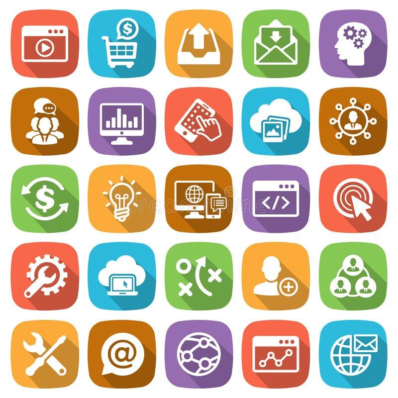 Het Web van SEO en van de Ontwikkeling en mobiele pictogramreeks royalty-vrije illustratie