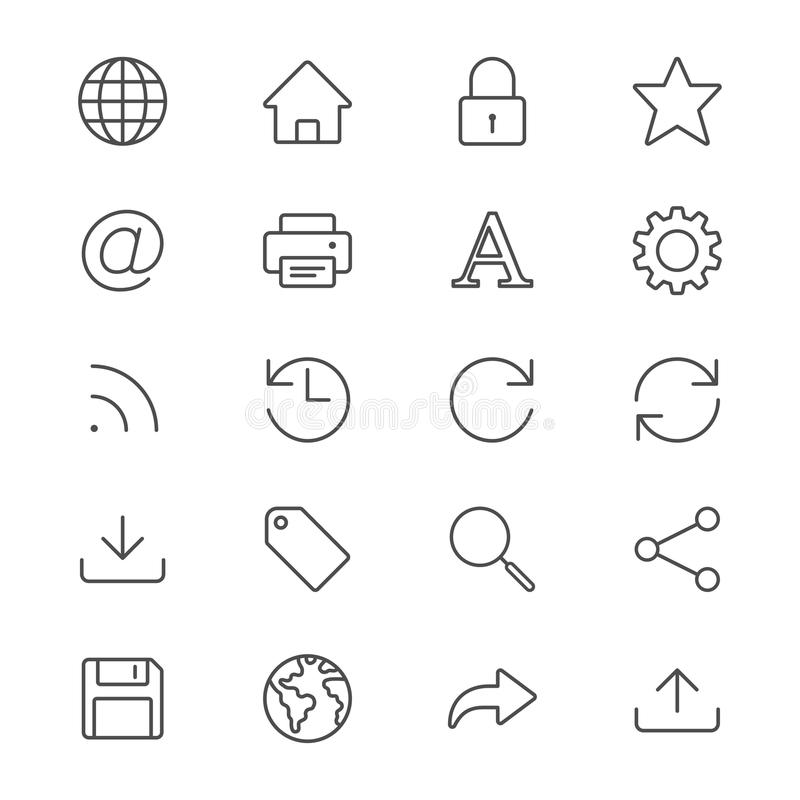Het Web verdunt pictogrammen royalty-vrije illustratie