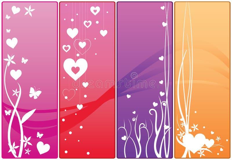 Het Webbanners van de valentijnskaart royalty-vrije illustratie