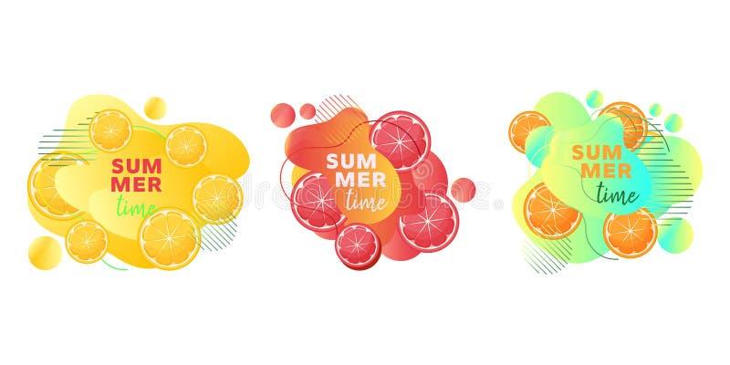 Het Webbanners van de de zomertijd die met vruchten citroen, sinaasappel, grapefruit, abstracte vloeibare vormen en tekst worden  stock illustratie