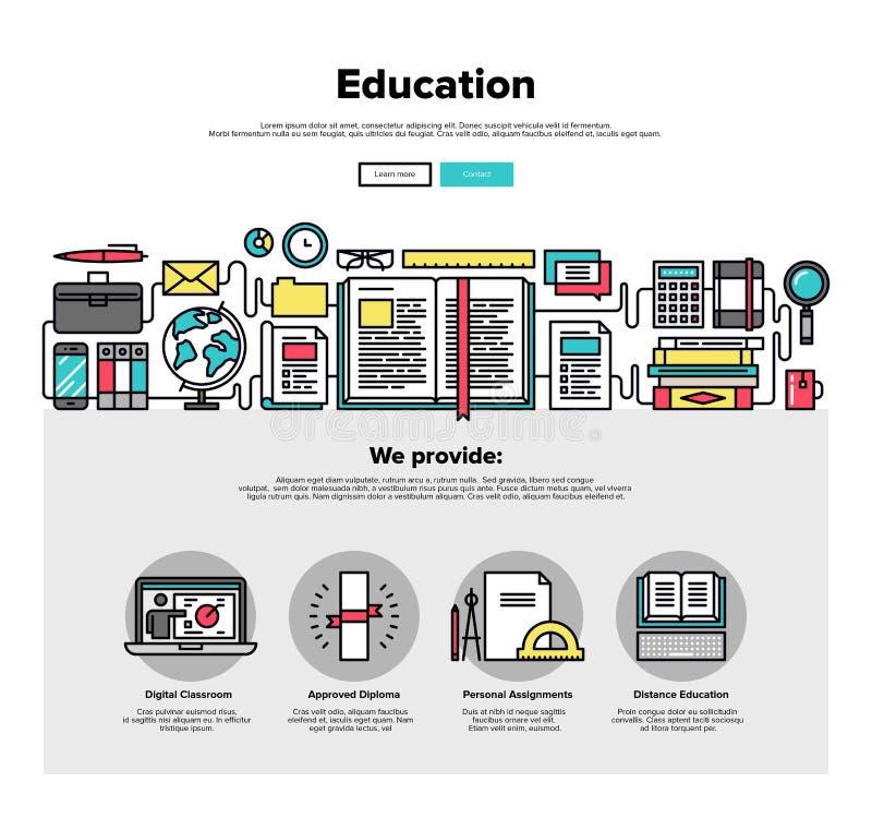 Het Webgrafiek van de onderwijs vlakke lijn royalty-vrije illustratie