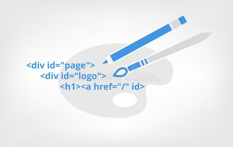 Het Webontwerp is kunst, metaphoric pictogram Vector Teken stock illustratie