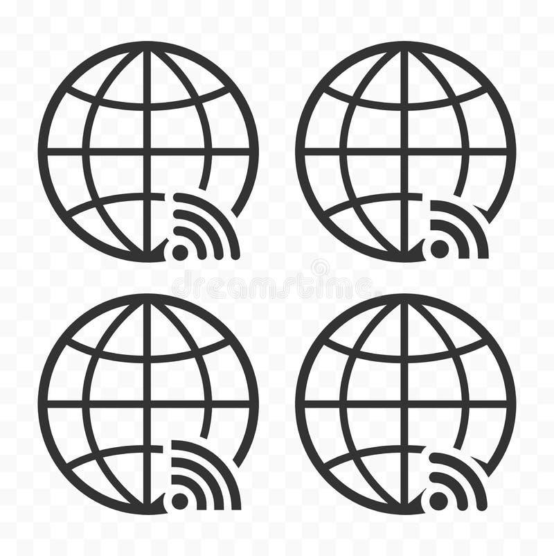 Het Webpictogram van het bolsymbool met draadloos signaalteken dat wordt geplaatst Aarde met wi de pictogrammenteken van FI vector illustratie