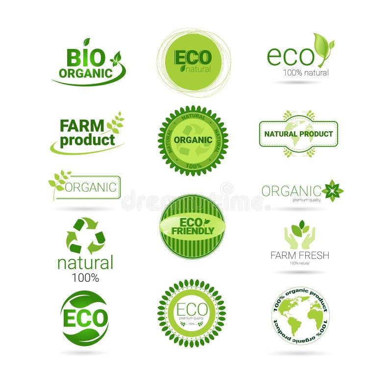 Het Webpictogram Vastgesteld Groen Logo Collection van het Eco Vriendschappelijk Organisch Natuurlijke Product vector illustratie