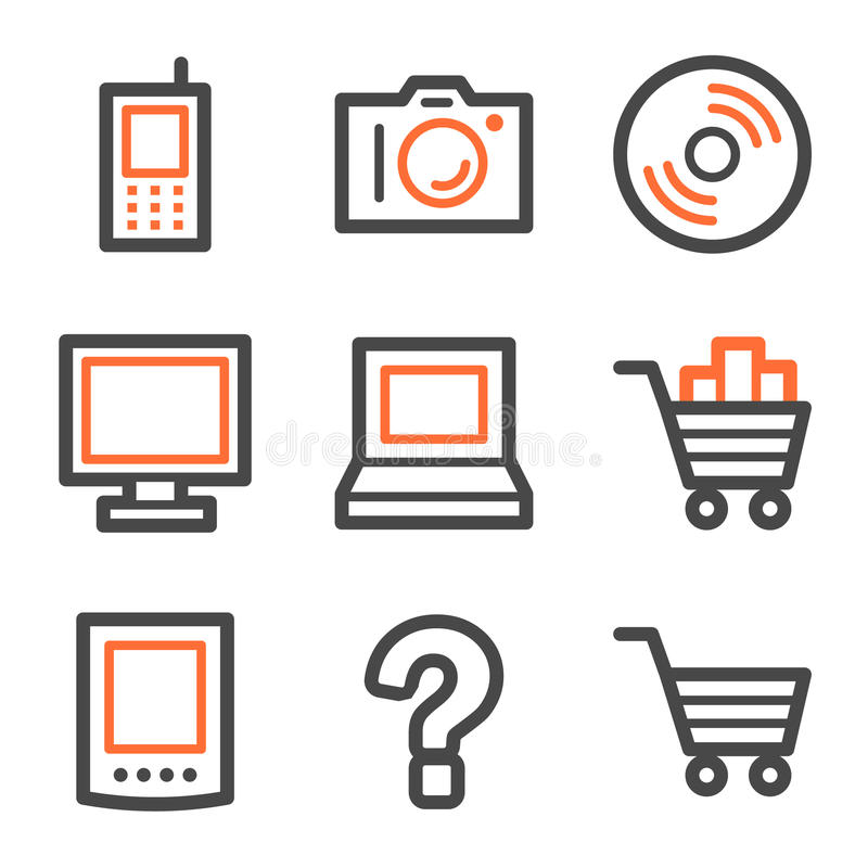 Het Webpictogrammen van de elektronika, oranje en grijze contour royalty-vrije illustratie
