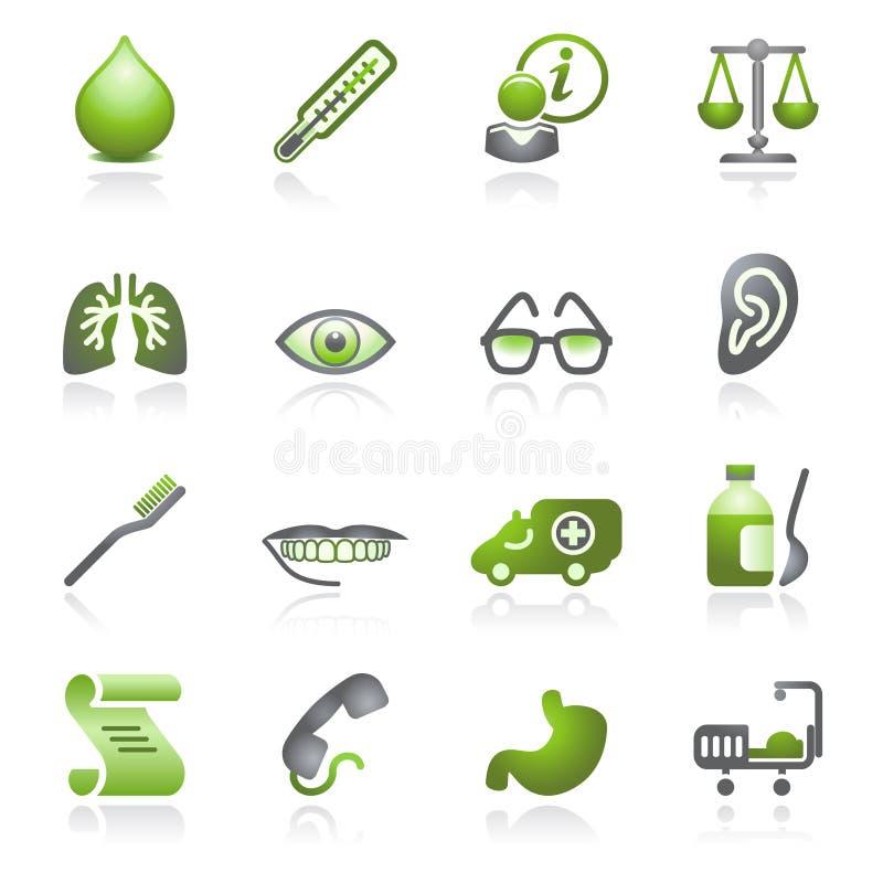 Het Webpictogrammen van de geneeskunde. Grijze en groene reeks. vector illustratie