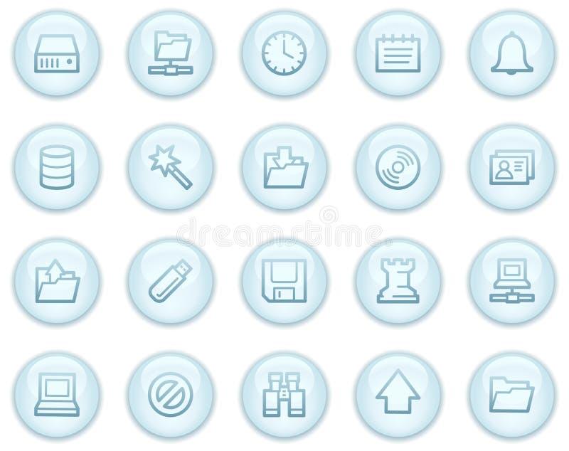 Het Webpictogrammen van de server, de lichtblauwe reeks van cirkelknopen stock illustratie