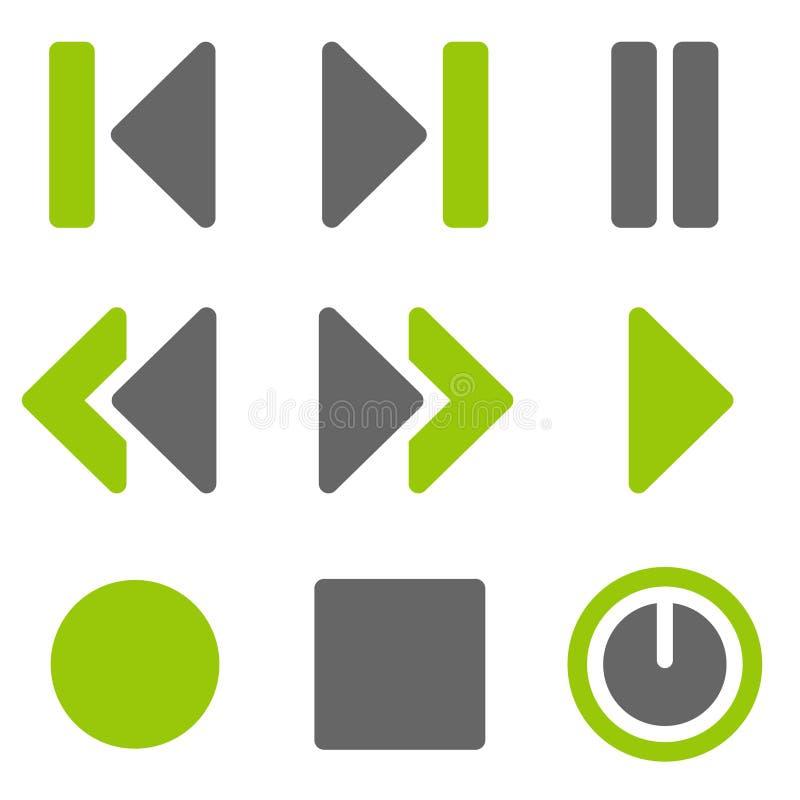 Het Webpictogrammen van de speler, groene grijze stevige pictogrammen royalty-vrije stock afbeeldingen