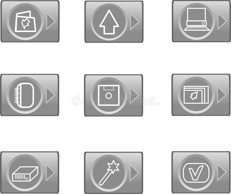 Het Webpictogrammen van gegevens, glanzende cirkelknopen royalty-vrije illustratie