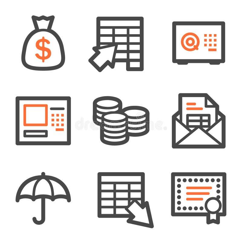 Het Webpictogrammen van het bankwezen, oranje en grijze contourreeksen royalty-vrije illustratie
