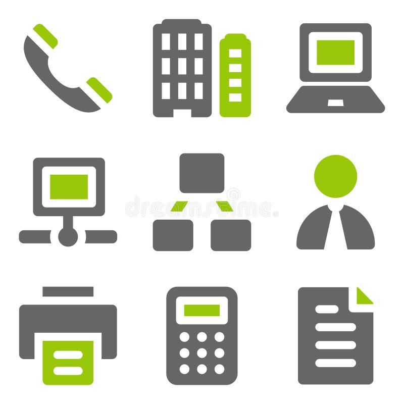 Het Webpictogrammen van het bureau, groene grijze stevige pictogrammen stock afbeeldingen