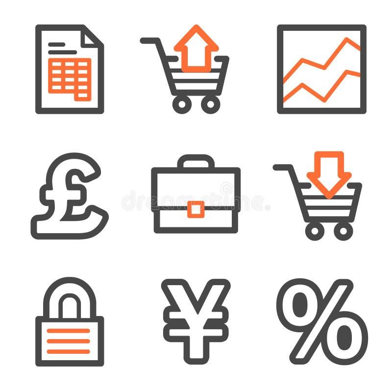 Het Webpictogrammen van het e-business, oranje en grijze contour stock illustratie