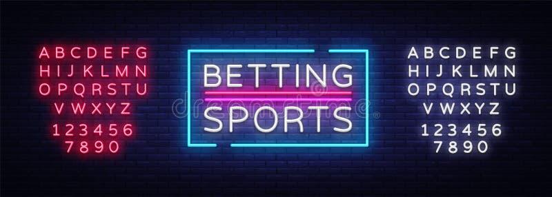 Het wedden Sportenvector Het wedden neonteken Helder nachtuithangbord bij het gokken, het wedden Lichte banner, ontwerpelement royalty-vrije illustratie