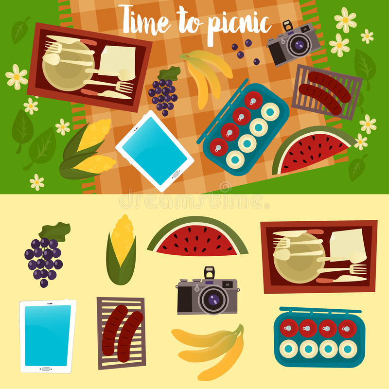 Het weekend van de familie Picknickreeks De zomerpicknick royalty-vrije illustratie