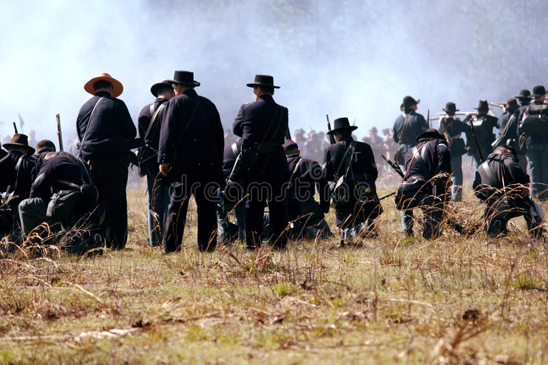 Het Weer invoeren van de Burgeroorlog in Olustee, Florida stock foto