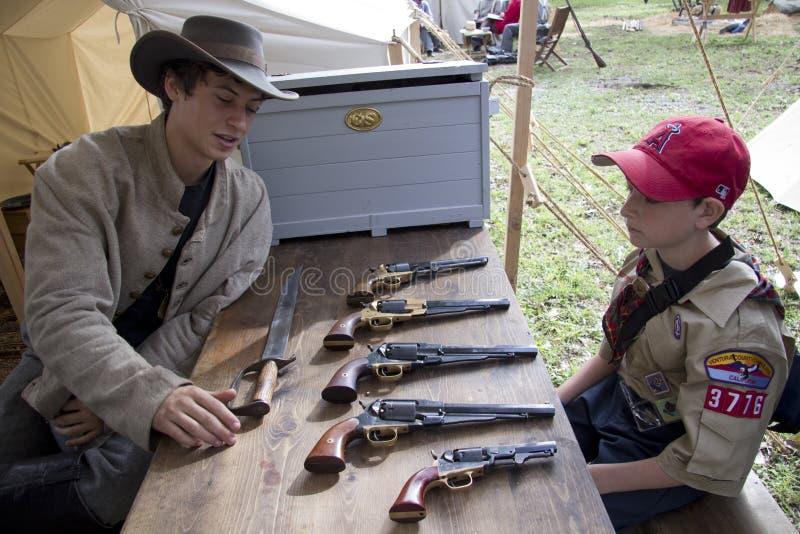 Het Weer invoeren van de Burgeroorlog van Moorpark stock foto's