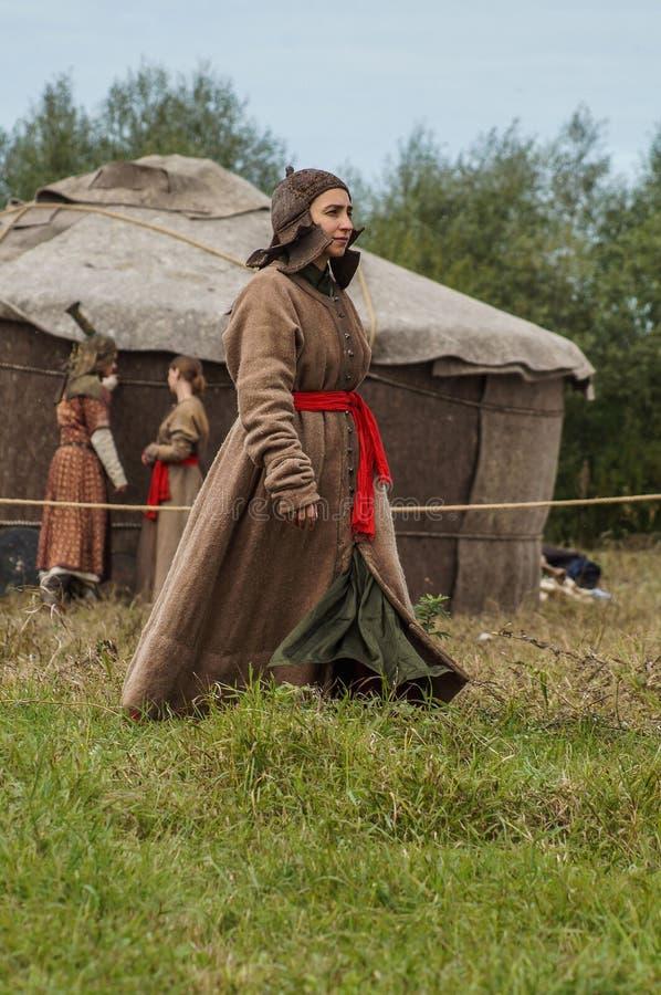 Het weer invoeren van de slag van de era van het juk mongools-Tatar in het Kaluga-gebied van Rusland op 10 September 2016 royalty-vrije stock fotografie