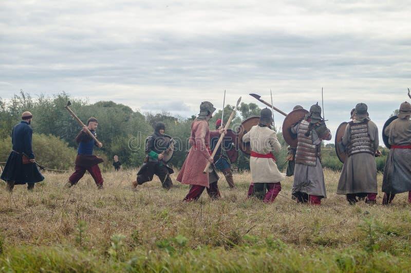 Het weer invoeren van de slag van de era van het juk mongools-Tatar in het Kaluga-gebied van Rusland op 10 September 2016 royalty-vrije stock afbeelding