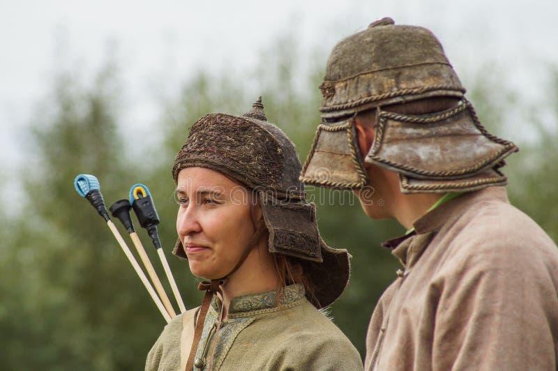Het weer invoeren van de slag van de era van het juk mongools-Tatar in het Kaluga-gebied van Rusland op 10 September 2016 stock afbeeldingen