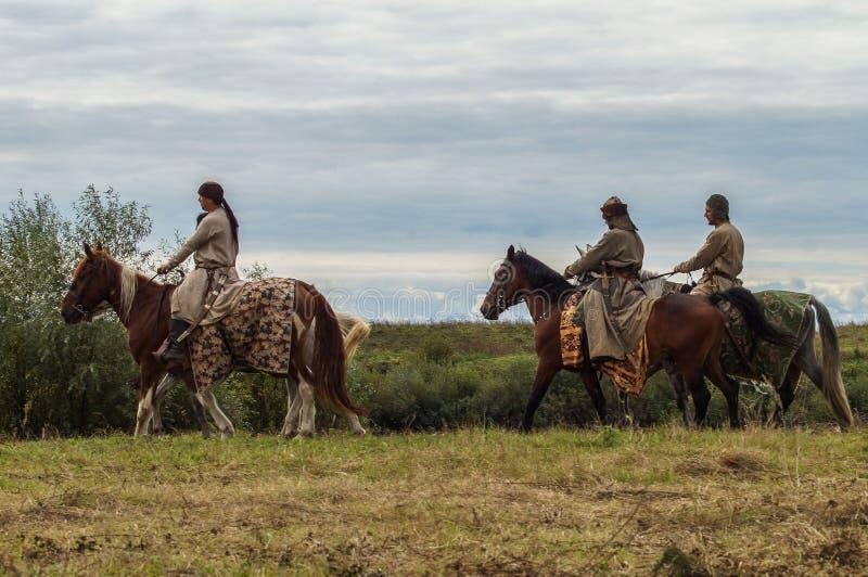 Het weer invoeren van de slag van de era van het juk mongools-Tatar in het Kaluga-gebied van Rusland op 10 September 2016 stock afbeelding