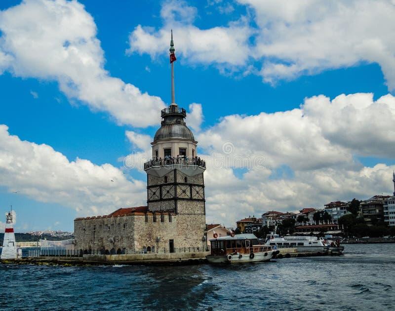 Het Weergeven van van boot in de rivier maakt de ronde van het kleine eiland atound Turkije stock foto