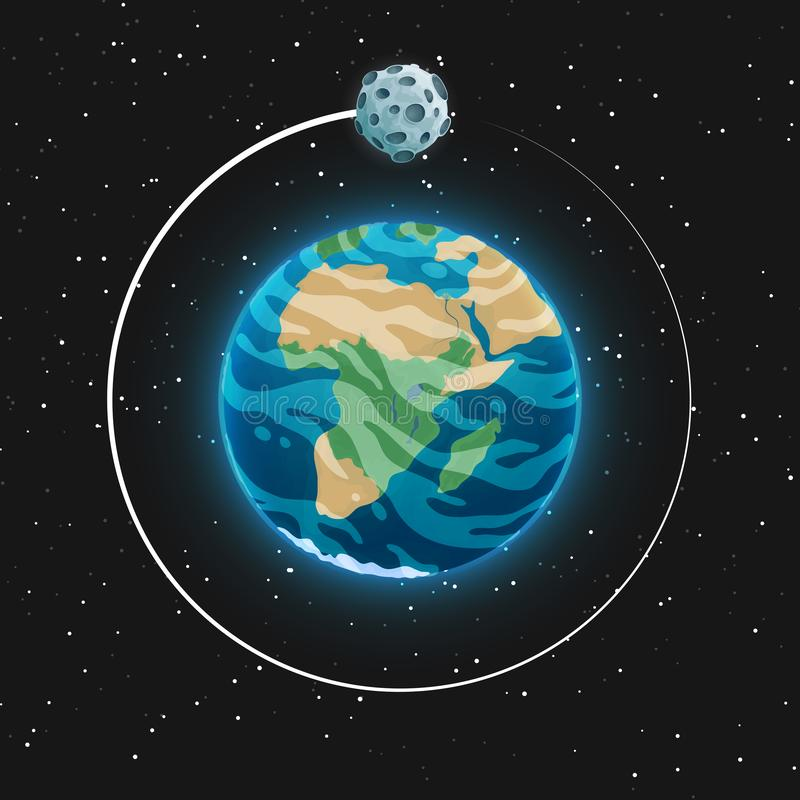 Het Weergeven van de aarde en het is satelliet van ruimte Gloeiend blauw gebied met oceanen, continenten en wolken in de atmosfee vector illustratie