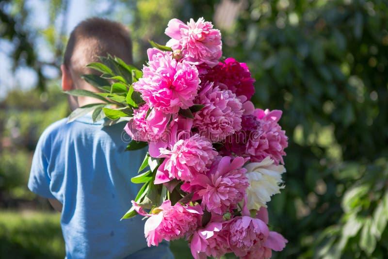 Het Weergeven van de rug van weinig jongen in zijn handen een groot boeket van mooie pioen bloeit royalty-vrije stock foto
