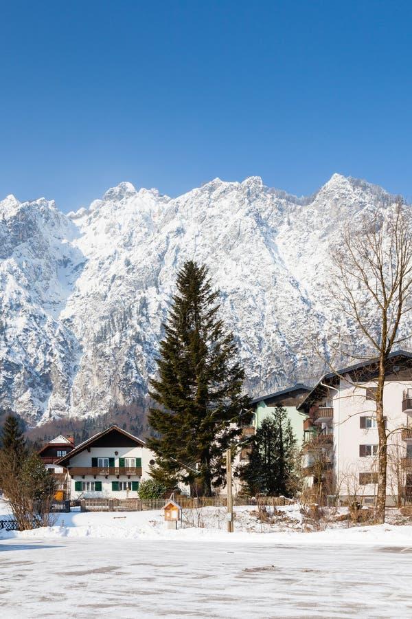 Het Weergeven van de Voet van Untersberg-Berg stock foto's
