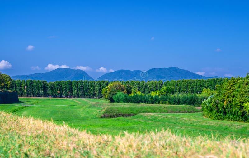Het Weergeven van gras groen gebied, de bomen en de heuvels en de bergen van Toscanië met duidelijk blauw hemelexemplaar plaatsen stock foto's