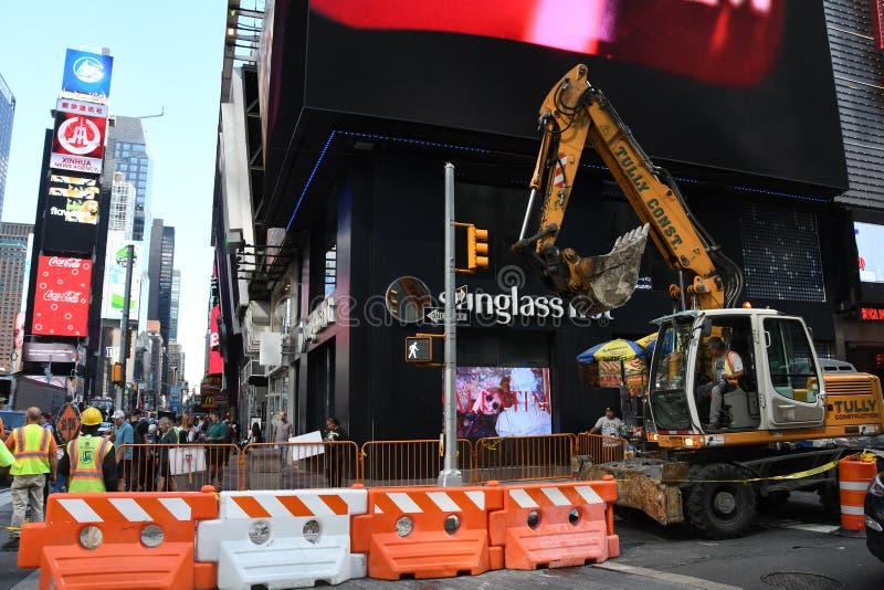 Het wegwerk de Bouw in van Manhattan, New York City Road royalty-vrije stock afbeeldingen