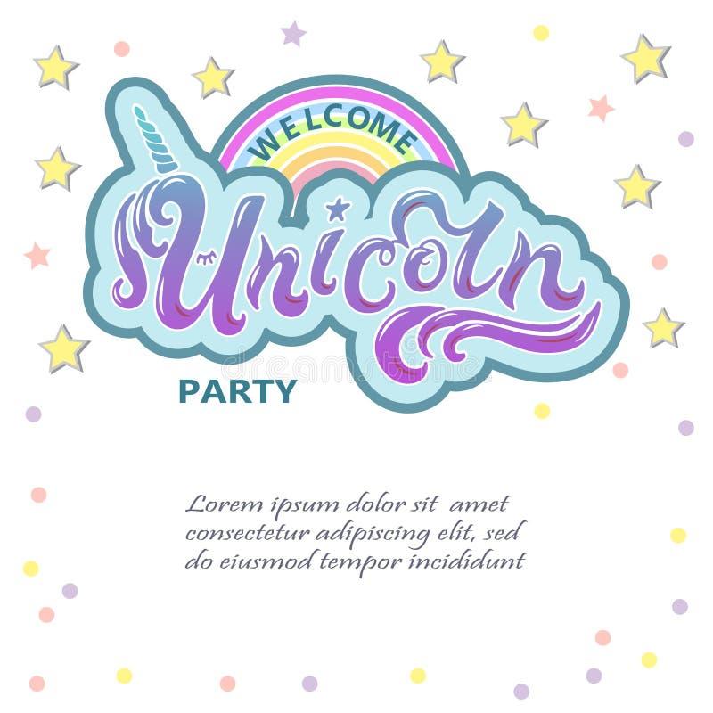 Het welkom Eenhoornpartij van letters voorzien als logotype, kenteken, flard en pictogram vector illustratie
