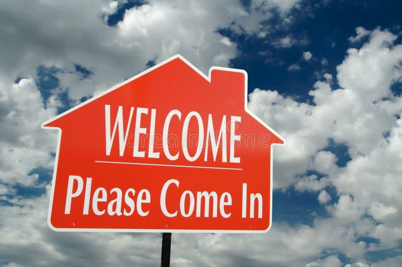 Het welkom, gelieve te komen in Teken stock fotografie