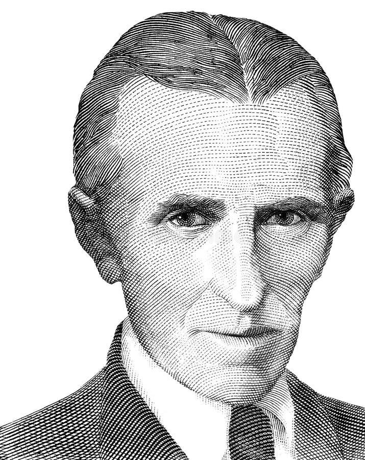 Het wereldberoemde portret van uitvindersnikola tesla dat op witte achtergrond wordt geïsoleerd Gestemd beeld royalty-vrije stock foto's