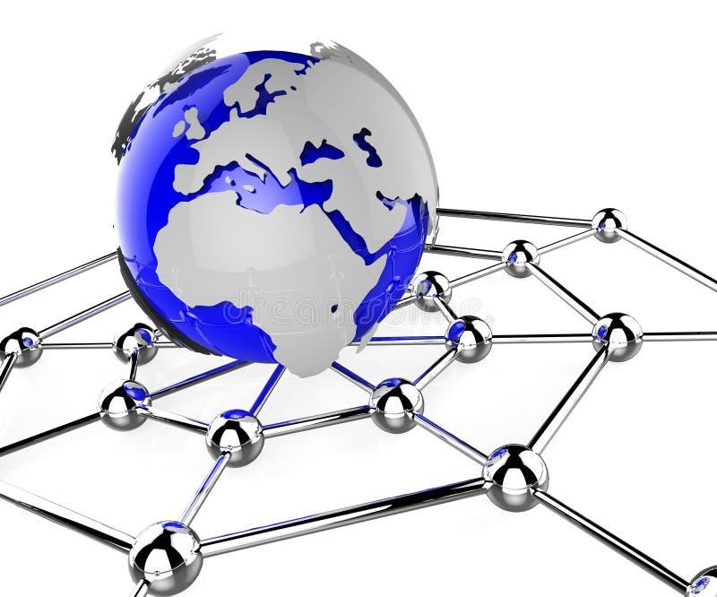 Het wereldwijde netwerk betekent Globale Mededelingen en Gegevensverwerking stock illustratie