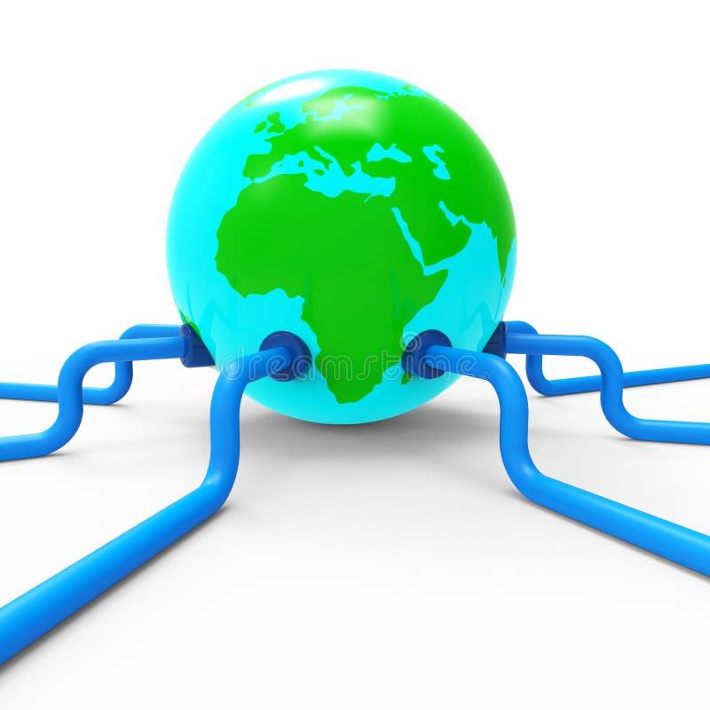 Het wereldwijde netwerk vertegenwoordigt Globale Mededelingen en communiceert stock illustratie