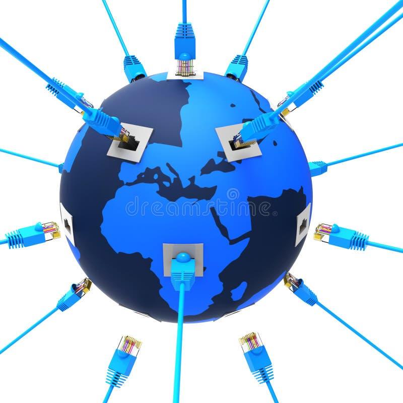 Het wereldwijde netwerk vertegenwoordigt Website en Gegevensverwerking vector illustratie