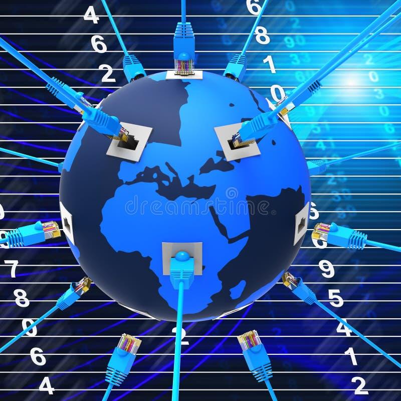 Het wereldwijde netwerk wijst op Globaal Mededelingen en Web stock illustratie