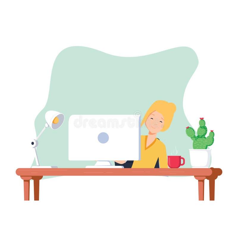 Het werk bij de computer Het leuke grappige vrolijke vrouwenkarakter werkt en kijkt achter de monitor uit royalty-vrije illustratie