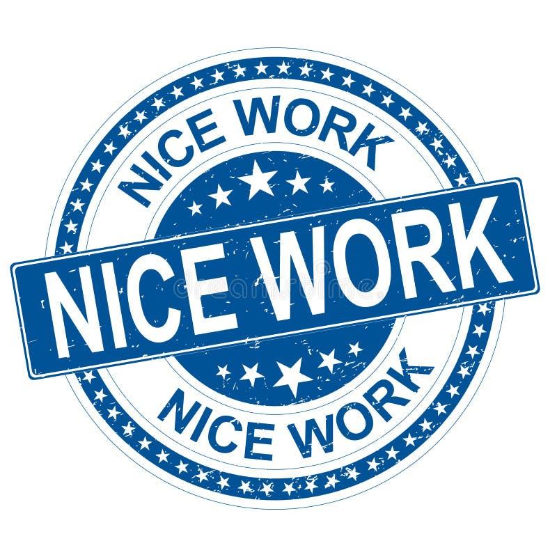 Het werk blauwe ronde grungy rubberzegel van Nice met sterren stock illustratie