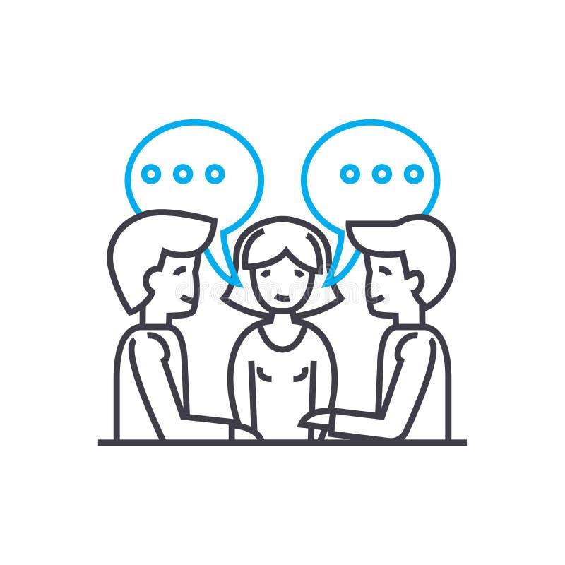Het werk concept van het vergaderings het lineaire pictogram Het werkende vectorteken van de vergaderingslijn, symbool, illustrat vector illustratie
