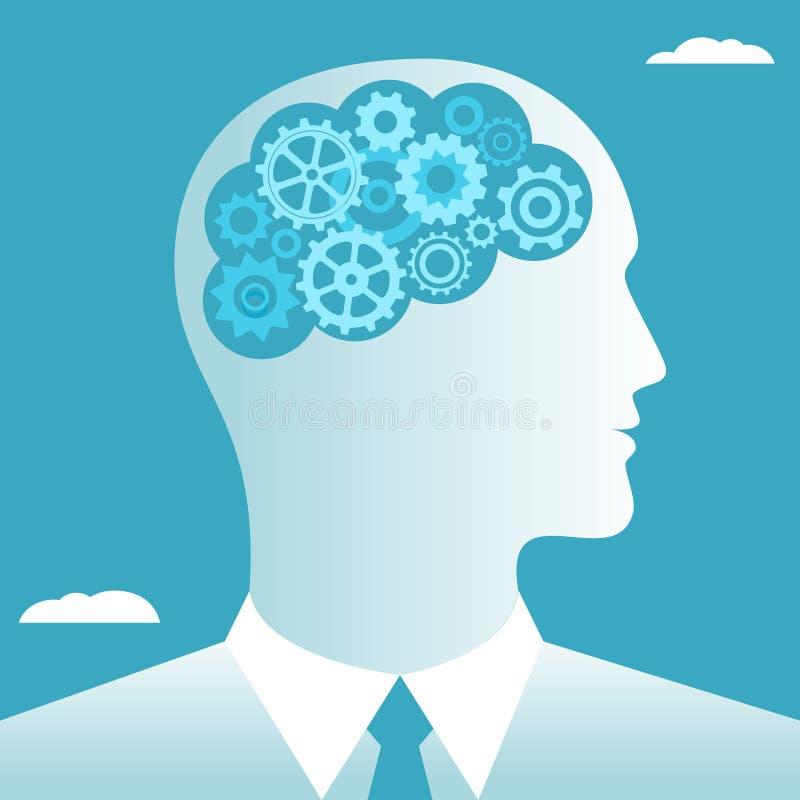 Het werk dat in de hersenenzakenman wordt gedacht stock illustratie