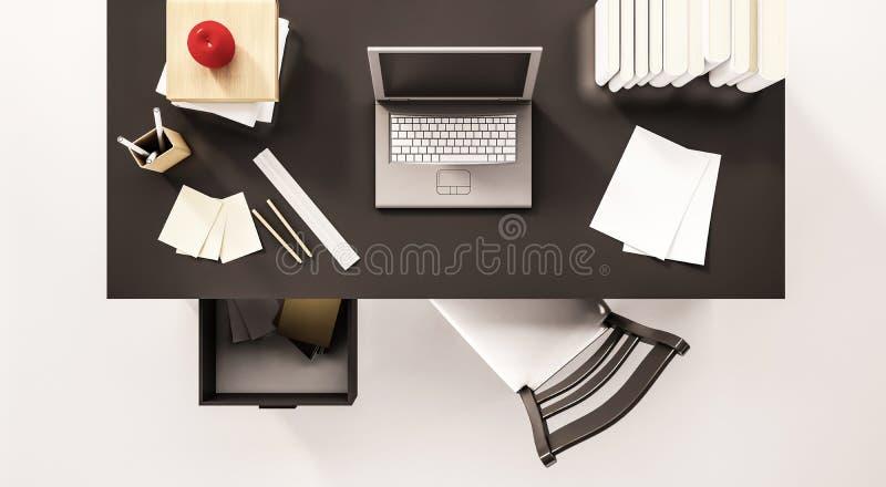 Het werk de bureauruimte, hoogste mening, met computerlaptop, administratie, boeken, stoel, opende lade, appel en enz. , teruggeg royalty-vrije illustratie