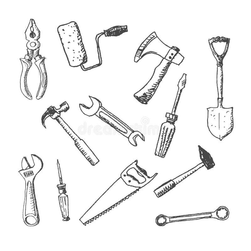 Het werk de reeks van het hulpmiddelenpictogram stock illustratie