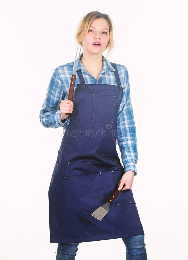 Het werk die van de vrouw hard zijn Het weekend van de familie Picknickbarbecue voedsel het koken recept Het keukengerei van de v stock afbeelding