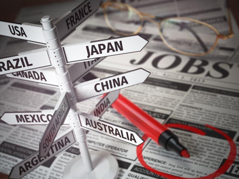 Het werk en reis het concept van de immigratiekans zoek stock illustratie