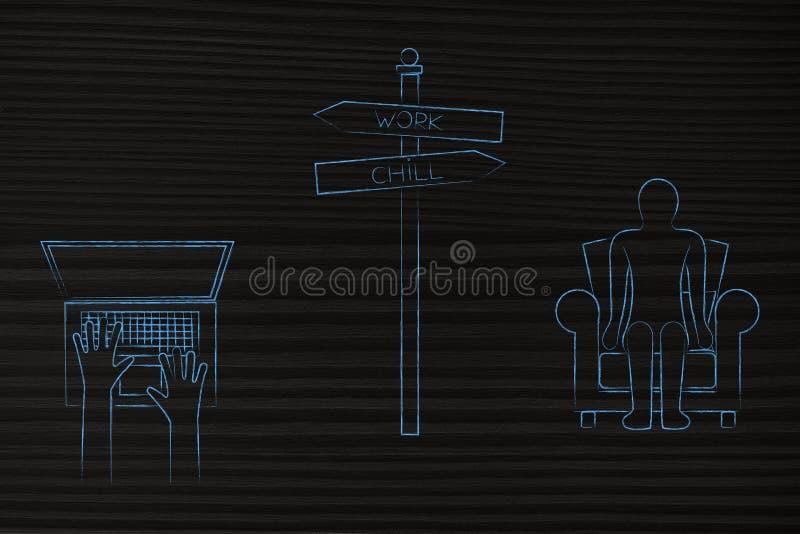 Het werk of koele verkeersteken met gebruiker het typen op laptop en de mens op mede royalty-vrije illustratie