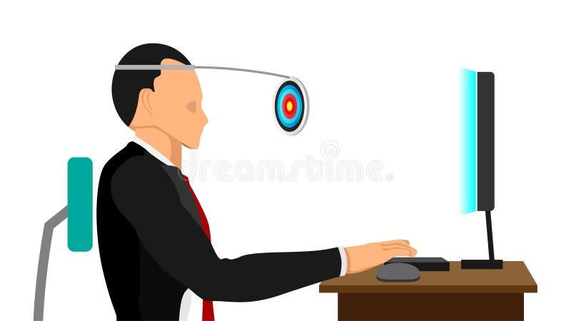 Het werk met doelstellingen in duidelijk gezicht vector illustratie