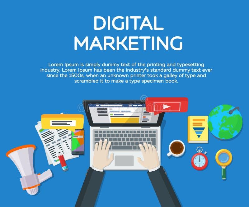 Het werk in sociale netwerken De motoroptimalisering van het onderzoek Webanalytics elementen en marketing Deskundige in SEO Work stock illustratie